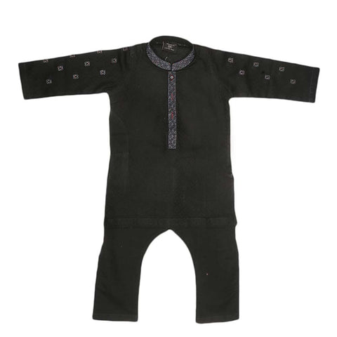 Boys Fancy Shalwar Kameez - Black