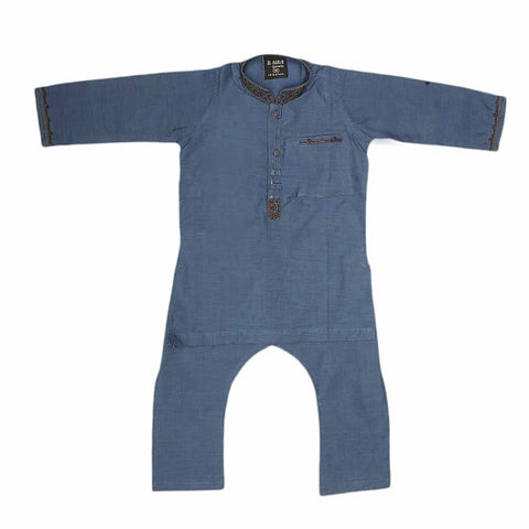 Boys Embroidered Shalwar Kameez - Blue