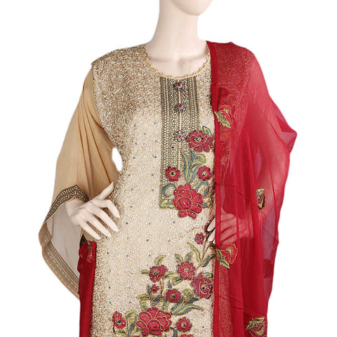 Bridal Dress Crinkle Chiffon Embroidered Semi-Stitched Suit - Maroon