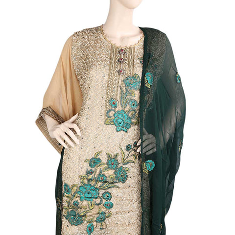 Bridal Dress Crinkle Chiffon Embroidered Semi-Stitched Suit - Green