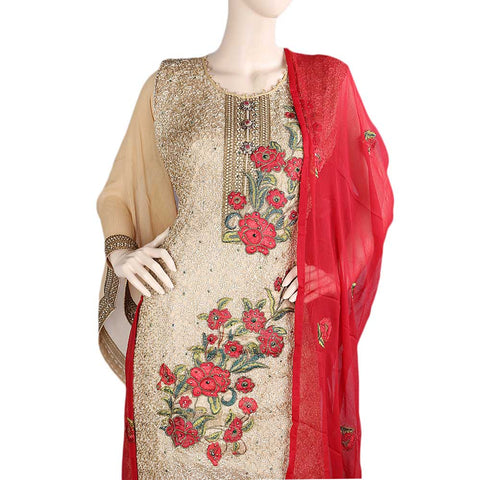 Bridal Dress Crinkle Chiffon Embroidered Semi-Stitched Suit - Red