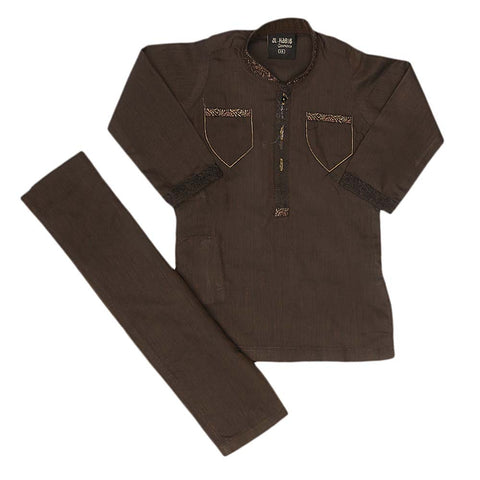 Boys Embroidered Shalwar Kameez - Coffee