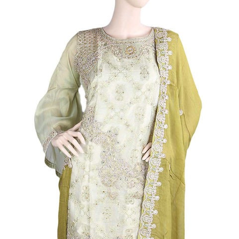 Bridal Dress Maysoori Organza Embroidered Semi-Stitched Suit - Green