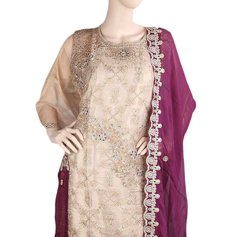 Bridal Dress Maysoori Organza Embroidered Semi-Stitched Suit - Copper