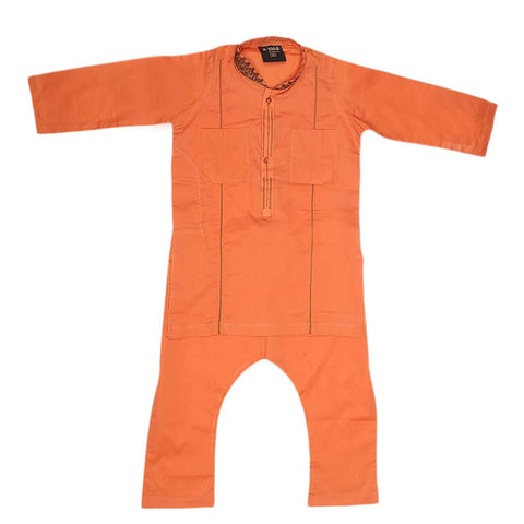 Boys Embroidered Shalwar Kameez - Copper
