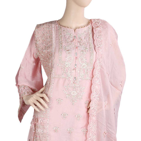 Bridal Dress Shamoz Silk Embroidered Semi-Stitched Suit - Pink