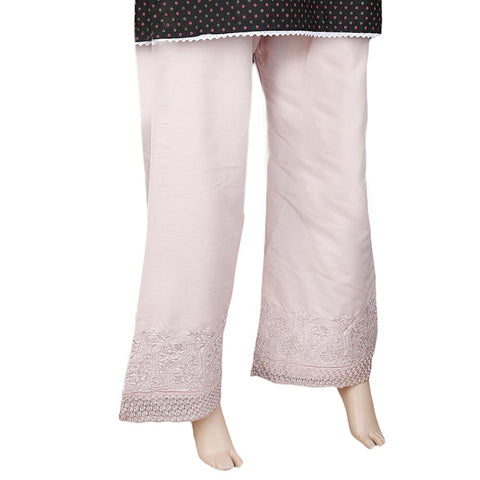 Women's Bell Bottom Embroidered Trouser - Pink