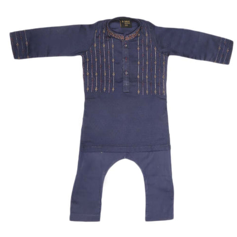 Boys Embroidered Shalwar Kameez - Navy Blue