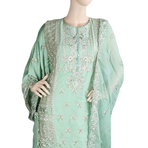 Bridal Dress Shamoz Silk Embroidered Semi-Stitched Suit - Light Green