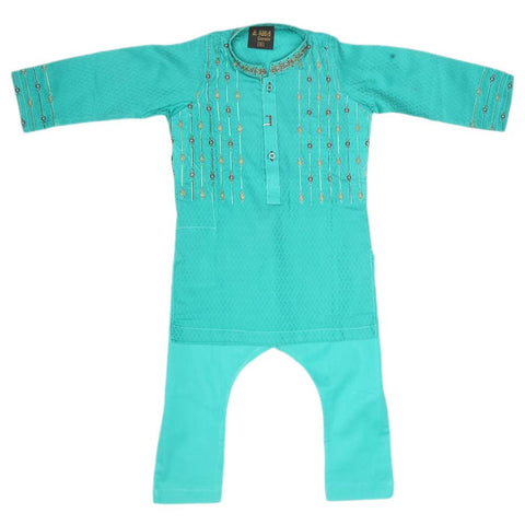 Boys Embroidered Shalwar Kameez - Sea Green