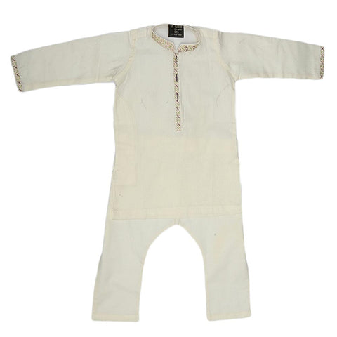 Boys Embroidered Shalwar Kameez - White