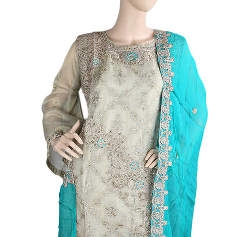 Bridal Dress Maysoori Organza Embroidered Semi-Stitched Suit - Golden Sea Green