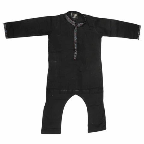 Boys Embroidered Shalwar Kameez - Black