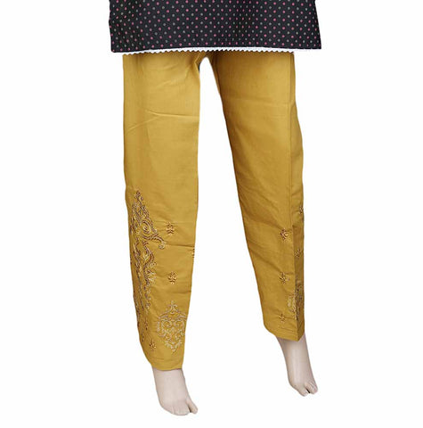 Women's Embroidered Trouser - Mustard