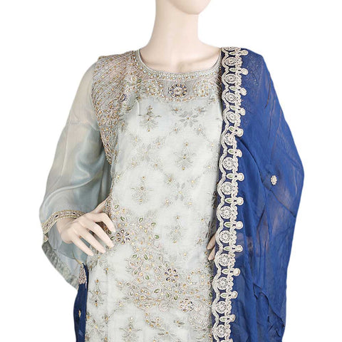 Bridal Dress Maysoori Organza Embroidered Semi-Stitched Suit - Grey