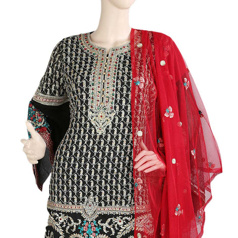Bridal Dress Chiffon Embroidered Semi-Stitched Suit - Black