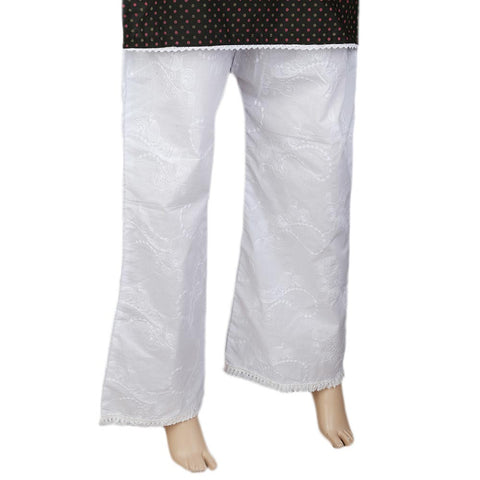 Women's Bell Bottom Embroidered Trouser - White