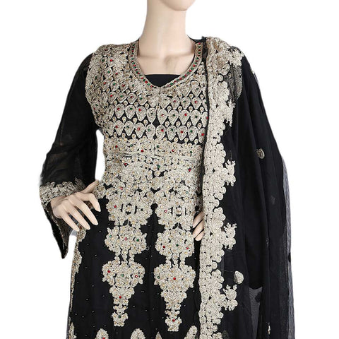 Anarkali Embroidered Net Frock Semi-Stitched Suit - Black