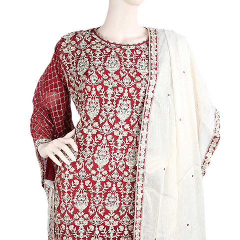 Bridal Dress Chiffon Embroidered Semi-Stitched Suit - Maroon