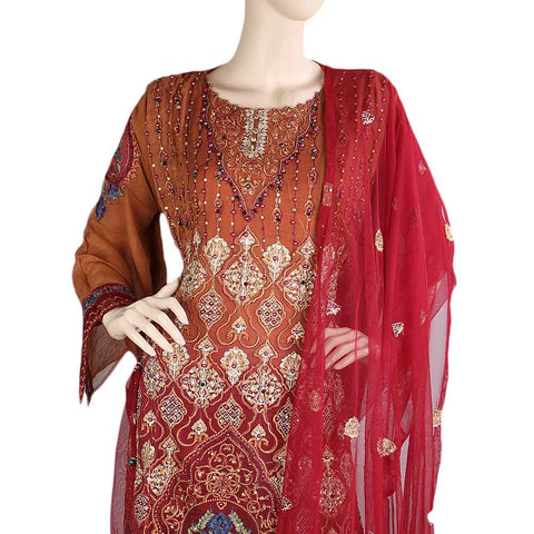 Bridal Dress Chiffon Embroidered Semi-Stitched Suit - Dark Brown