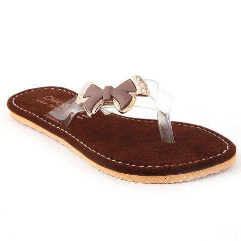 Girls Fancy Slippers - Brown