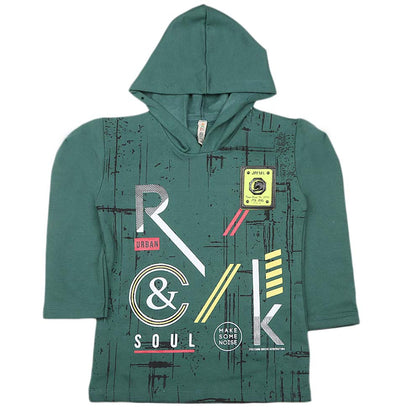 Boys Full Sleeves Hooded Sweatshirt - Green