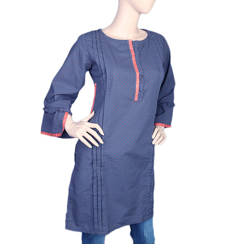 Women's Cotton Plain Kurti - Navy Blue