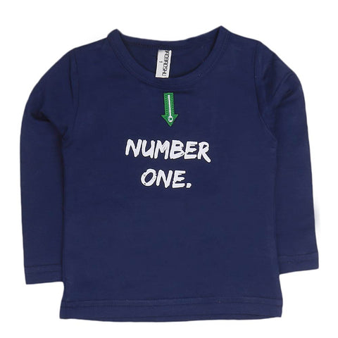 Boys Full Sleeves T-Shirt - Navy Blue