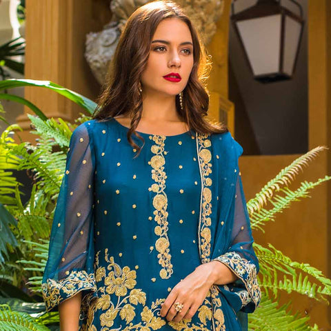Kalyan Embroidered Chiffon 3 Piece Un-Stitched Suit - 1
