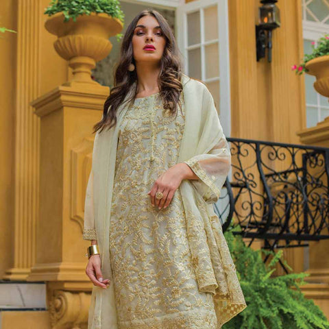 Kalyan Embroidered Chiffon 3 Piece Un-Stitched Suit - 4