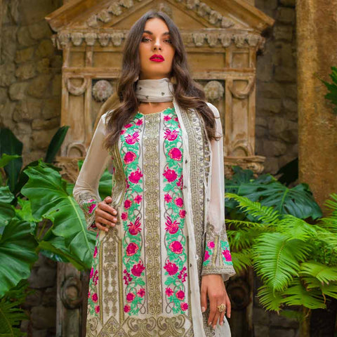 Kalyan Embroidered Chiffon 3 Piece Un-Stitched Suit - 6