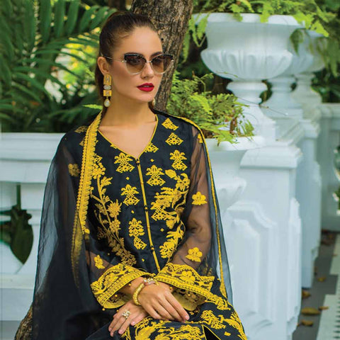 Kalyan Embroidered Chiffon 3 Piece Un-Stitched Suit - 7
