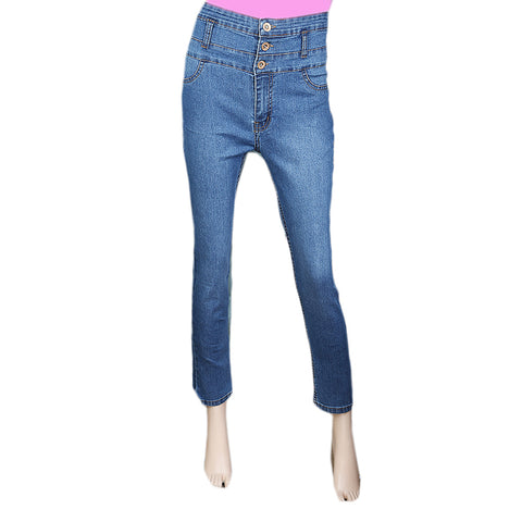 Women's Denim High Waist pant - Mid Blue