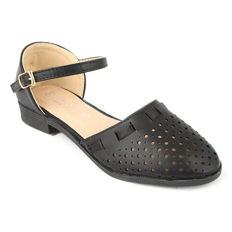 Girls Fancy Pumps (K101) - Black