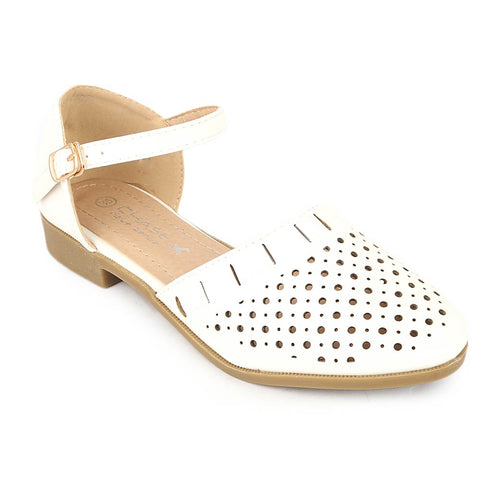 Girls Fancy Pumps (K101) - White
