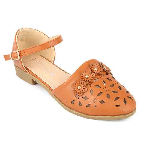 Girls Fancy Pumps (K122) - Camel