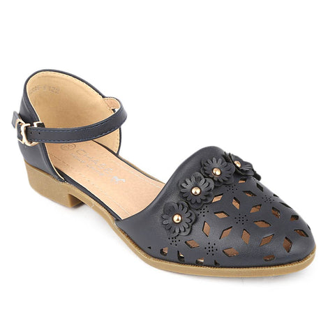 Girls Fancy Pumps (K122) - Navy Blue