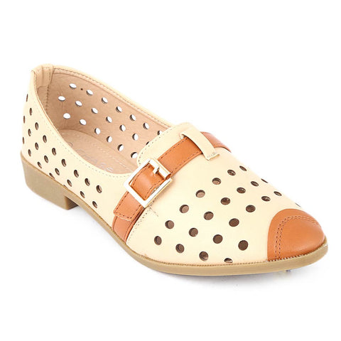 Girls Fancy Pumps (K91) - Beige
