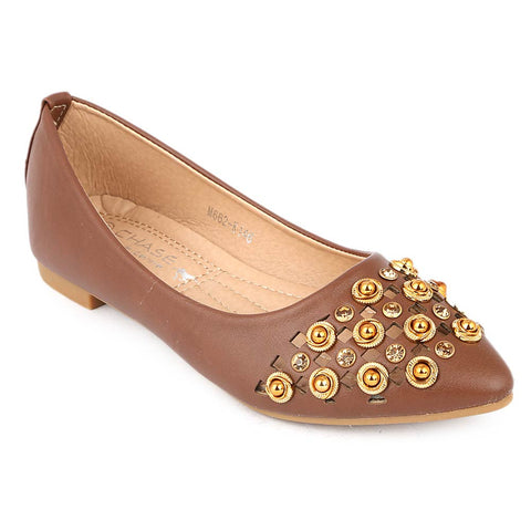 Girls Fancy Pumps (M662-K146) - Brown