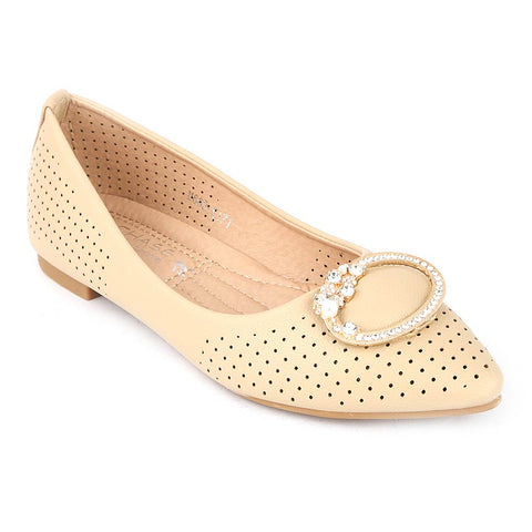 Girls Fancy Pumps (M662-K171) - Beige