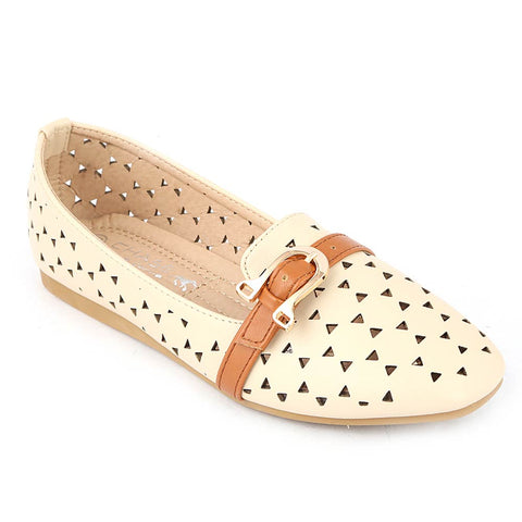 Girls Fancy Pumps (M810-44) - Beige