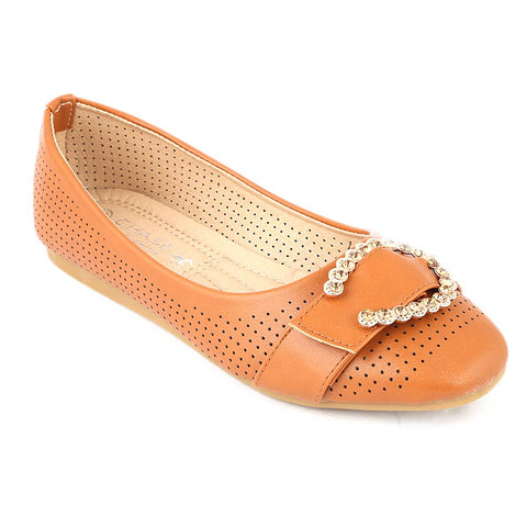 Girls Fancy Pumps (M810-K73) - Camel
