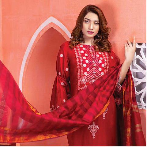 Meraki Embroidered Lawn 3 Piece Un-Stitched Suit Vol 18 - 09