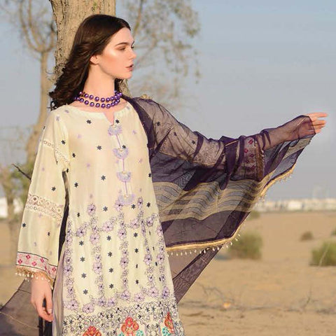 Meraki Embroidered Lawn 3 Piece Un-Stitched Suit Vol 18 - 10