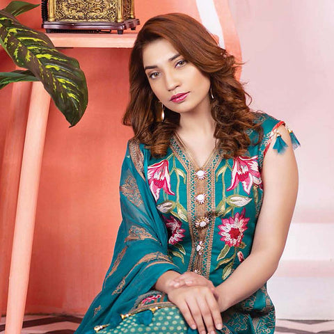 Meraki Embroidered Lawn 3 Piece Un-Stitched Suit Vol 18 - 11