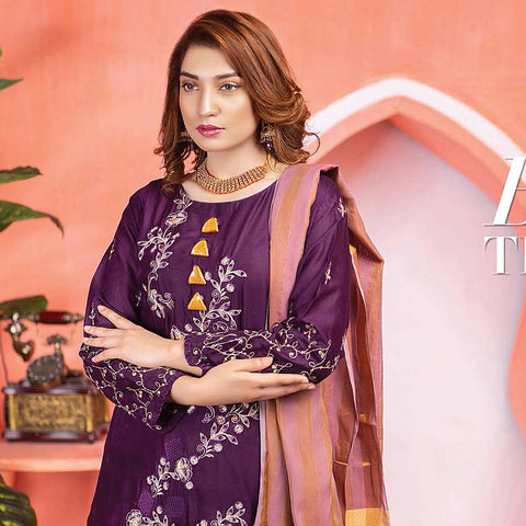 Meraki Embroidered Lawn 3 Piece Un-Stitched Suit Vol 18 - 01
