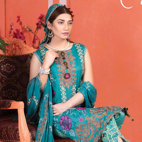 Meraki Embroidered Lawn 3 Piece Un-Stitched Suit Vol 18 - 02