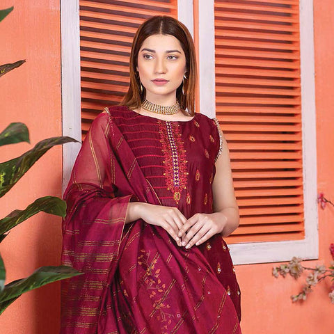 Meraki Embroidered Lawn 3 Piece Un-Stitched Suit Vol 18 - 03