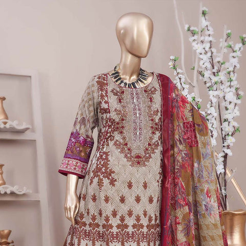 Schick Embroidered Lawn 3 Piece Un-Stitched Suit - 05