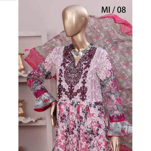Schick Embroidered Lawn 3 Piece Un-Stitched Suit - 08